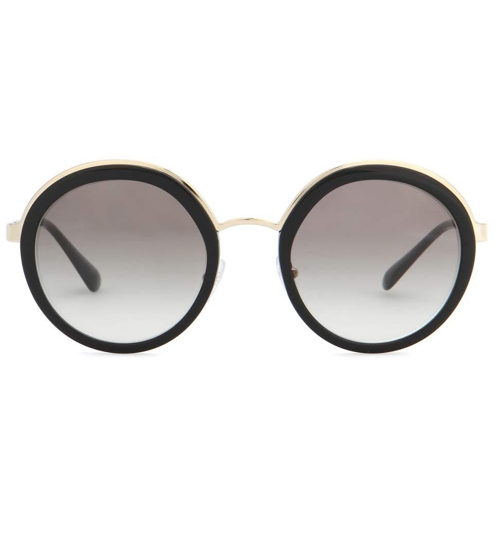 9979ab097 Prada Trimmed Gradient Round Sunglasses In Black | ModeSens