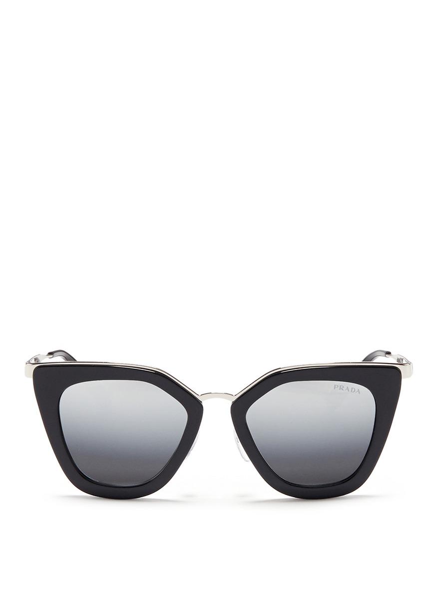 28dc2e87236b6 Prada Metal Bridge Cat Eye Acetate Sunglasses In Black Gray Solid ...