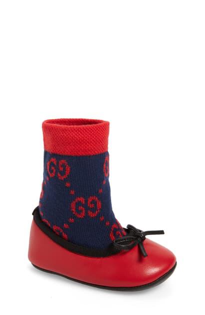Gucci Babies' Felicie Logo Sock Ballet Flat In Blue/ Red