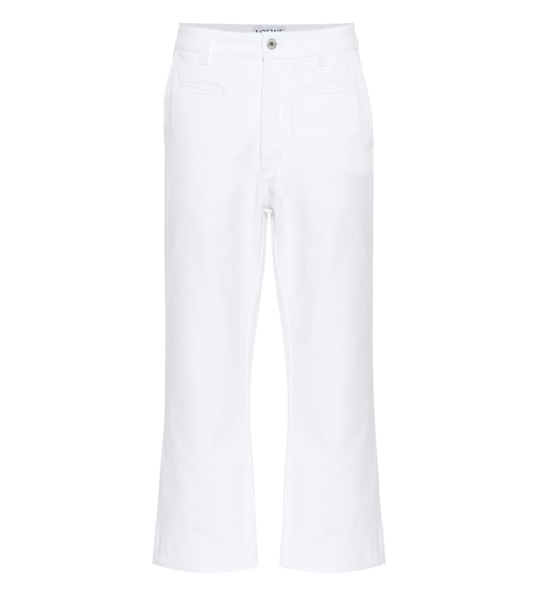 Loewe Slit-cuff Topstitched Straight-leg Jeans In 2100 White
