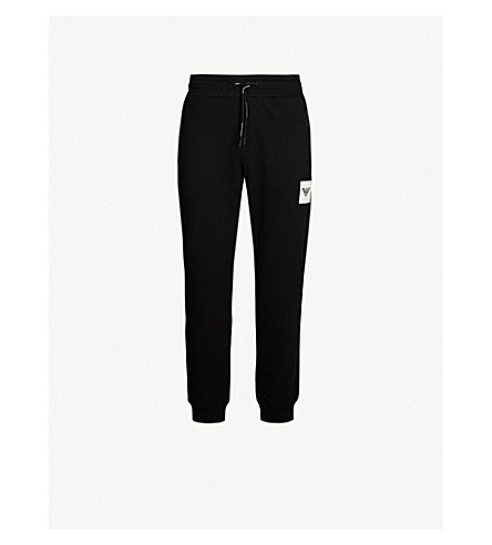 Emporio Armani Branded-Patch Cotton-Jersey Jogging Bottoms In Black