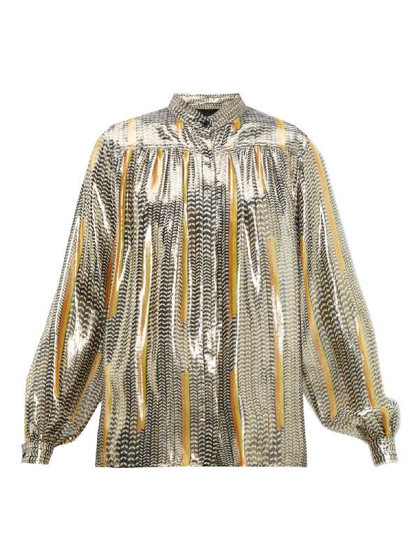 Giambattista Valli Geometric-Print Silk-Blend Blouse In Black Gold