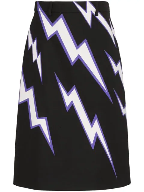 Prada Lightning Bolt-print Cotton-poplin Skirt In Black