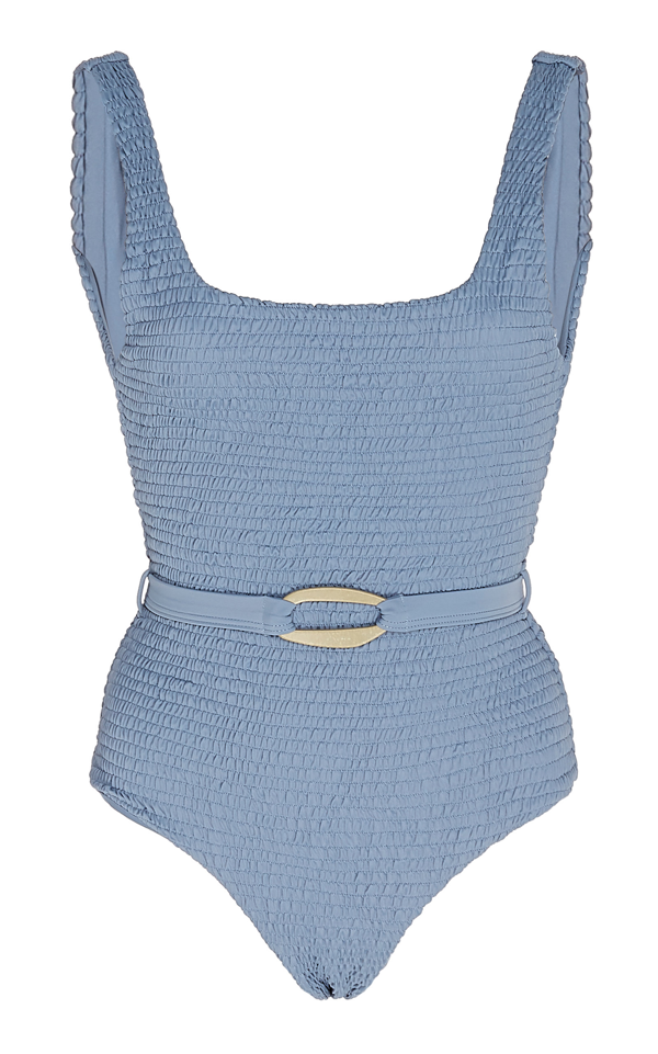 Palm Maya Smocked Belted Swimsuit In Blue