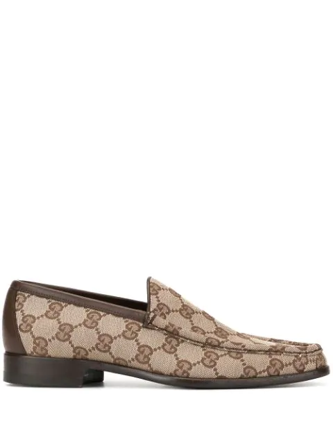 Pre-owned Gucci Gg Supreme Loafers In Brown
