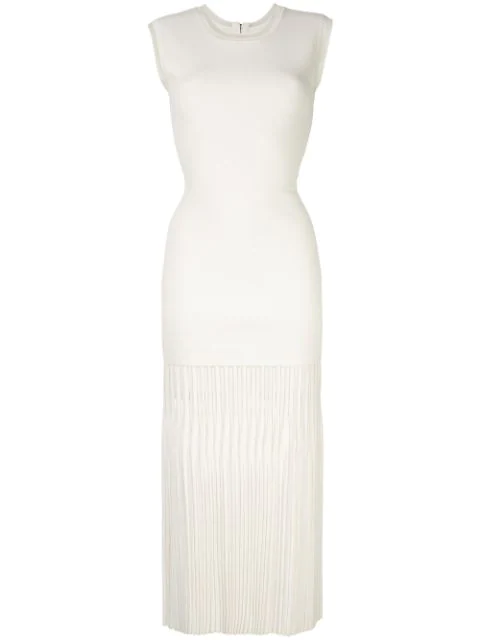 Dion Lee Godet Pleat Dress In White