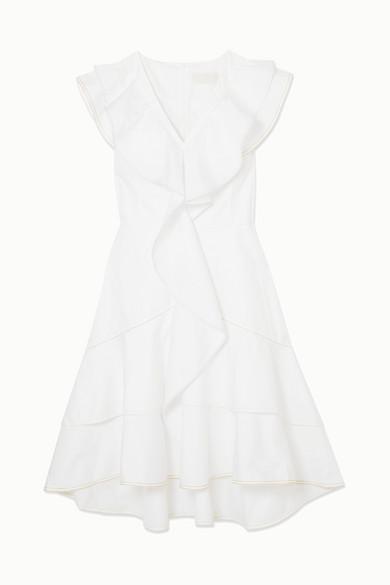 Peter Pilotto Ruffled Cotton-jersey Mini Dress In White