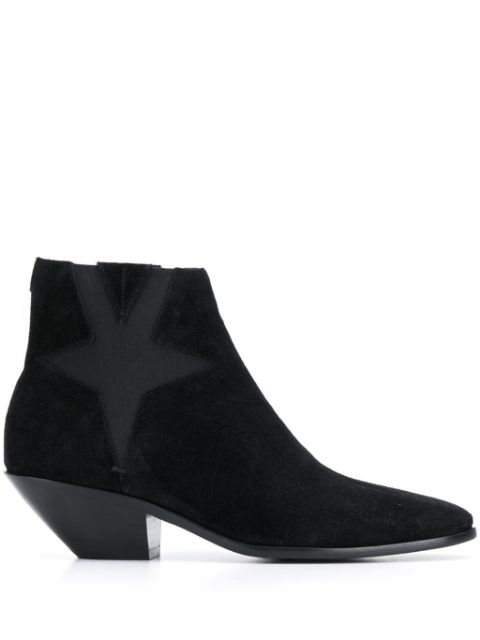 Saint Laurent West Star Chelsea Boots In Suede In Black