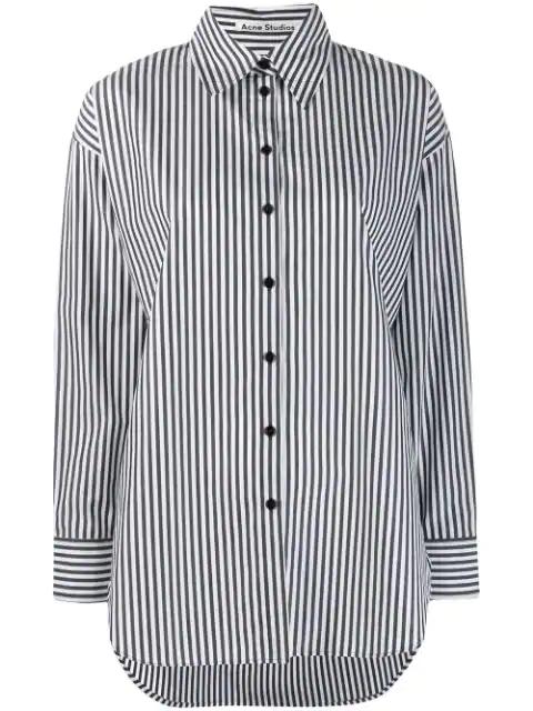 Acne Studios Menswear-inspired Striped Shirt In Black