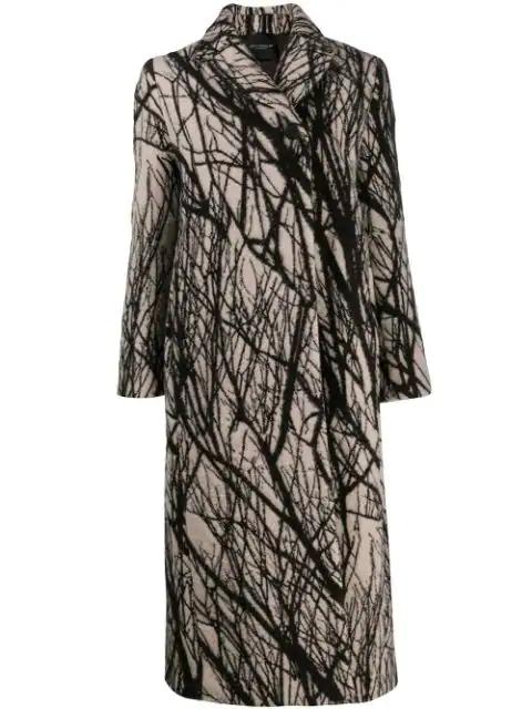 Erika Cavallini Printed Wool-Blend Overcoat In Neutrals