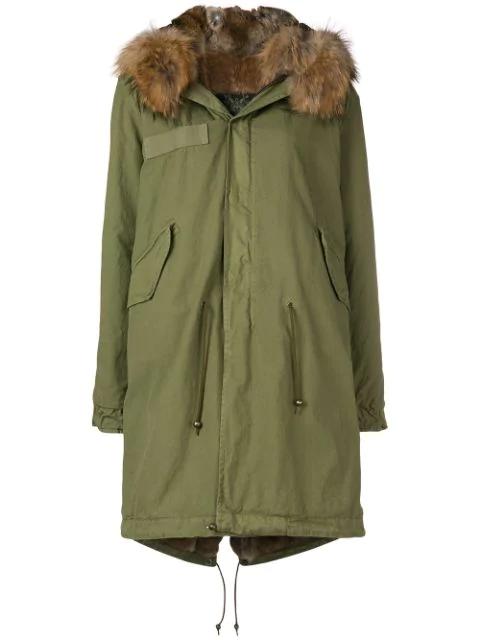Mr & Mrs Italy Multicoloured Fox Fur Hooded Parka In Green