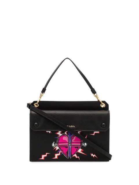 Prada Mini Heart-Print Top-Handle Bag In Black