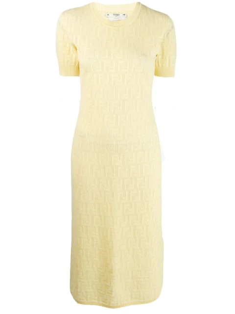 Fendi Logo Intarsia Cotton Knit Dress In Yellow