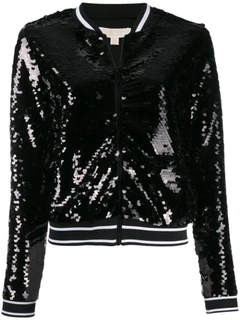 Michael Michael Kors Sequinned Bomber Jacket In 001 Black