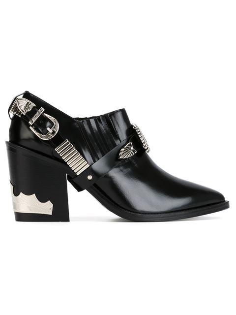 Toga Black Heeled Western Harness Boots