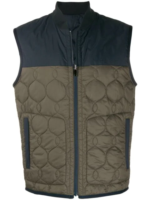Z Zegna Quilted Panel Gilet In 117 Brown