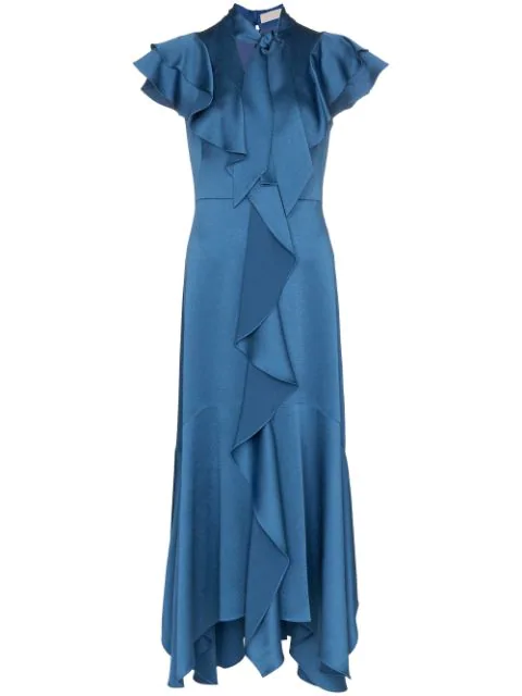 Peter Pilotto Ruffled Hammered-satin Dress In Blue