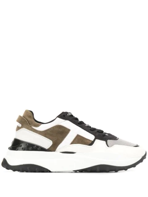 Tod's Colour Block Sporty Lace-up Sneakers In Kkjl Bianco Nero