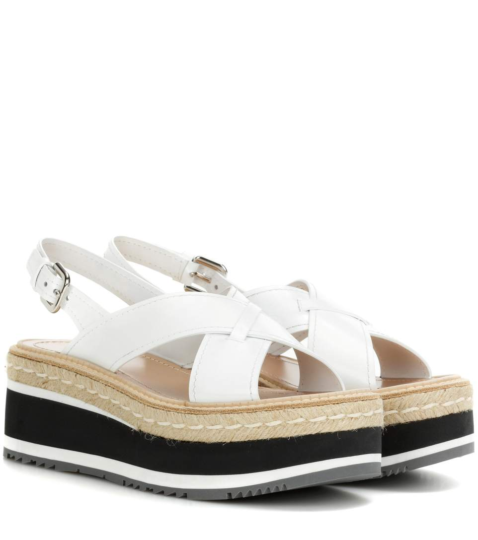 a54b1762a22 Prada Leather Platform-Wedge Sandals In Liaeco