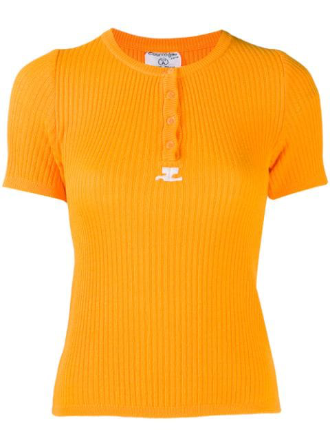 CourrÈGes Knitted Ribbed T-Shirt In Orange