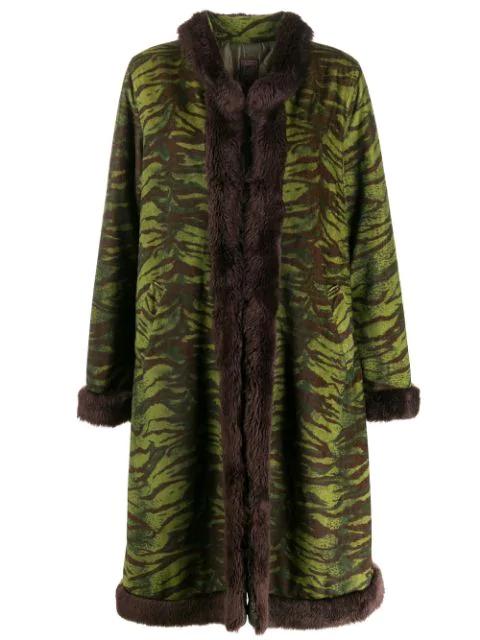 Jean Paul Gaultier 90's Zebra Coat In Green