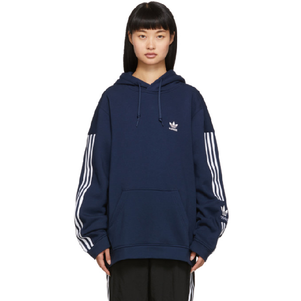 Adidas Originals Navy Lock Up Logo Hoodie In Colleginavy