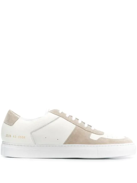Common Projects Bball Full-grain Leather And Suede Sneakers In 0506 White