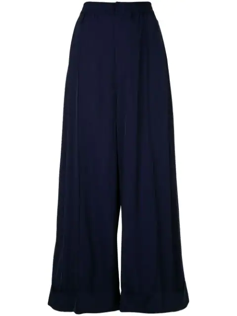Toga Folded Cuff Gabardine Wide Leg Pants In 13 Navy