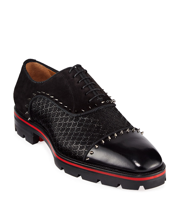 Christian Louboutin Men's Champignac Red-Sole Spiked Leather Jacquard Oxford Shoes In Black