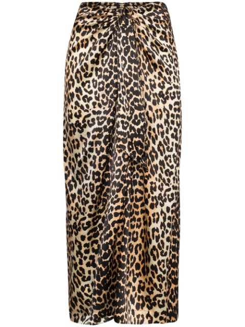 Ganni Leopard-print Silk-blend Satin Midi Skirt In Brown