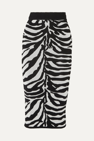 Herve Leger Zebra-intarsia Knitted Midi Skirt In Black