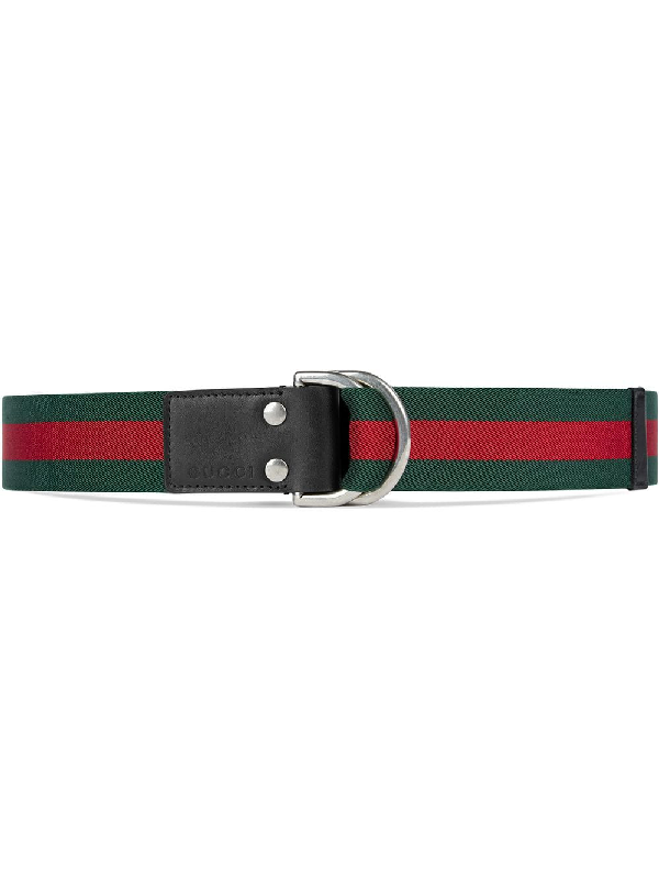 e8064dc1920 Gucci D-Ring Striped Canvas Belt In 1060 Green Red