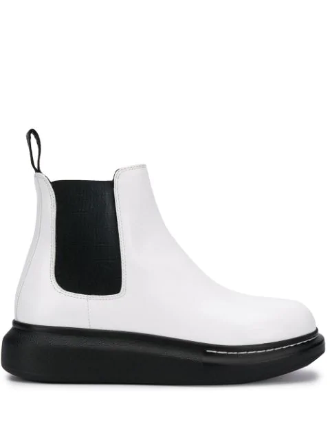 Alexander Mcqueen Raised Sole Leather Chelsea Boots In White