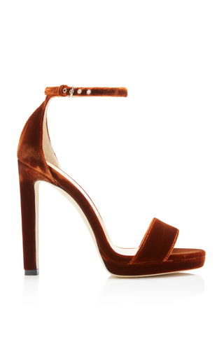 detailed look super cute competitive price Misty 120 Bordeaux Velvet Platform Sandals In Brown