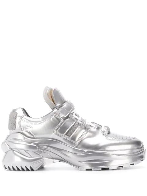 Maison Margiela Artisanal Low Top Metallic Sneakers In T9002 Silver