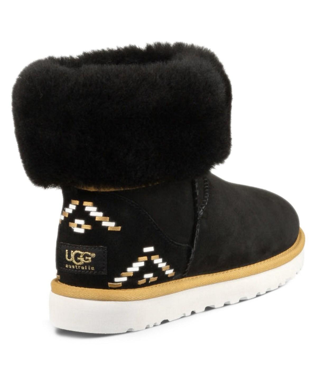 bb1192510b1 Ugg Classic Short Rustic Weave Twinface Sheepskin Boot in Black