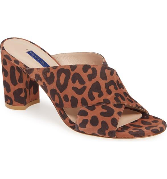 Stuart Weitzman Women's Galene Block Heel Sandals In Cappuccino Cheetah Suede