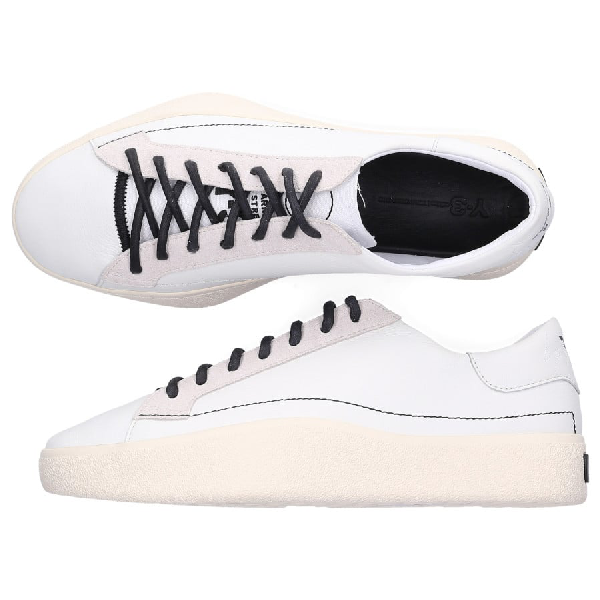 Y-3 Low-Top Sneakers Tangutsu Lace Canvas Suede Logo Beige White