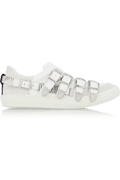 Toga Embellished Multi-Strap Leather Trainers In White