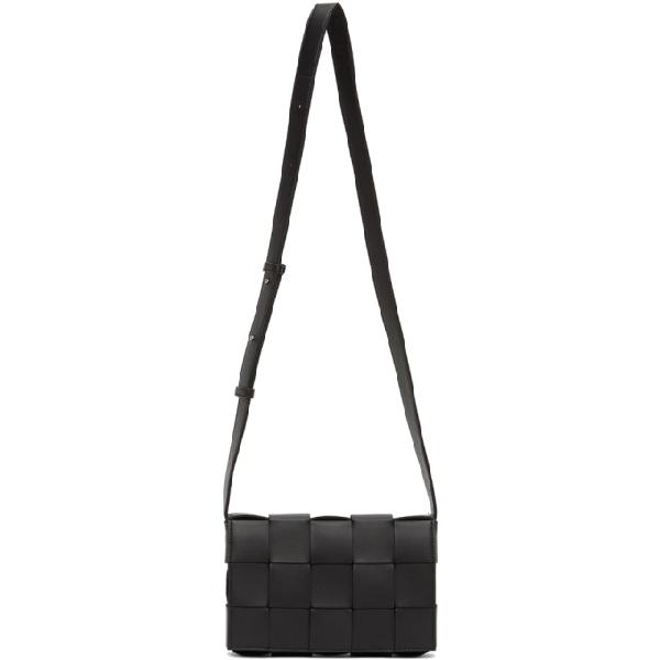Bottega Veneta Cassette Intrecciato Leather Crossbody Bag In 8803 Black