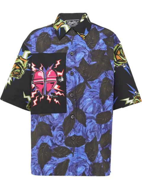 Prada Cuban Collar Frankenstein Print Cotton Shirt In Blue