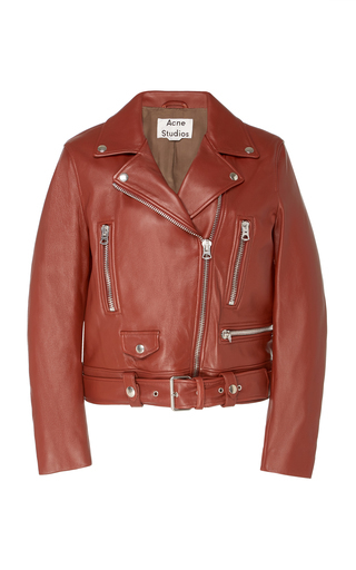 Acne Studios Mock Leather Biker Jacket In Brown