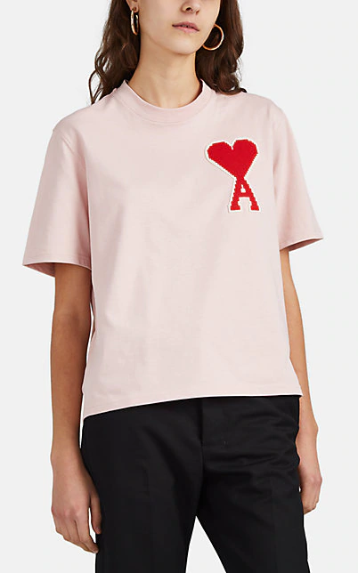 Ami Alexandre Mattiussi T-Shirt With Big Ami Coeur Patch In Pink