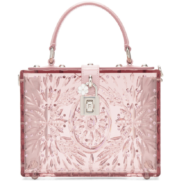 Dolce & Gabbana Dolce And Gabbana Pink Cinderella Plexiglass Box Bag In 80400 Pink