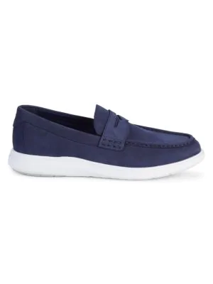 Cole Haan Grand Suede Penny Loafers In Marine Blue   ModeSens