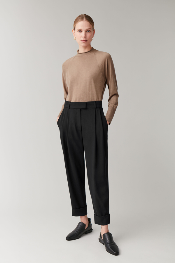 Cos Dropped Crotch Pants With Pleats In Black