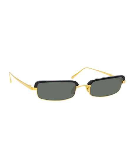 Linda Farrow Slim Rectangular Sunglasses In Black/Gold
