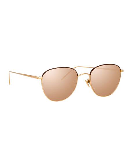 Linda Farrow Titanium Mirrored Square Sunglasses In Rose Gold