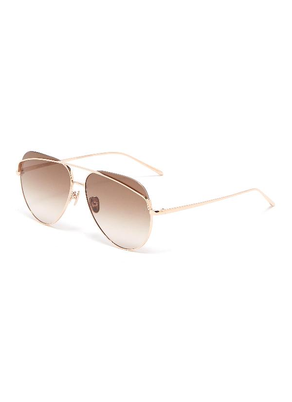 Linda Farrow Browbar Metal Aviator Sunglasses In Gradient Brown