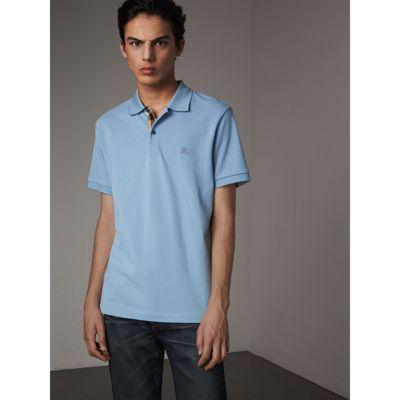 2a77524265d7 Burberry Check Placket Cotton PiquÉ Polo Shirt In Pale Blue